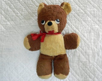 Vintage Teddy Bear, Brown, 1950's , Collectible Bear, Old Child's Toy, Primitive Decor, Nursery Decor, Stuffed Animal, Mid Century