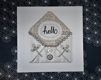 Hand Embroidery HELLO Textile Art Envelope made by hand