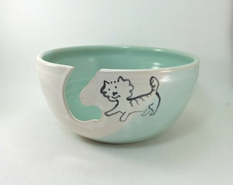 yarn bowl with a cat on it