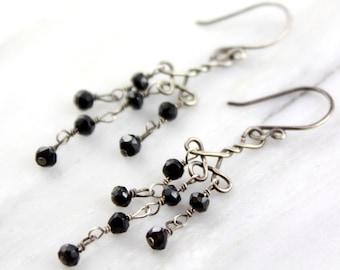Black Spinel Celtic Knot Chandelier Earrings Oxidized Silver