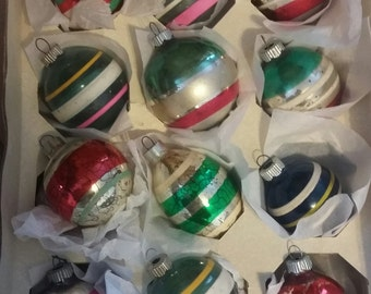 Shiny Brite Christmas Ornaments in Stripes - Round - Royal Hill Vintage