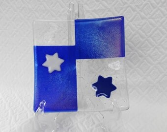 Star of David Fused Glass Dish, Judica, Blue and White Trinket Tray, Hanukkah, Fused Glass Plate, Glass Candy Dish, Glass Soap Dish