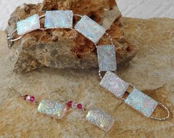 Crystal Rainbow Dichroic Bracelet and Earring Set,  Fused Glass Bracelet and Earrings, Dichroic Glass Earrings and Bracelet, Flowery Pattern