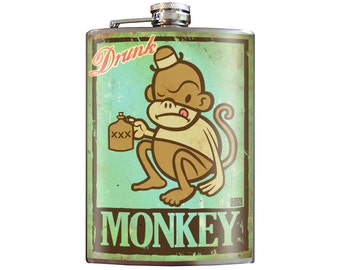 Drunk Monkey - 8oz Stainless Steel Flask - comes in a GIFT BOX -  by Trixie & Milo