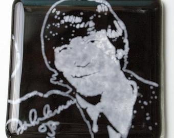 John Lennon Beatles Musician Fused Glass Coaster, Music, Singer, Guitarist, Rock and Roll, Yoko Ono