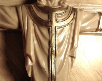 Dated 1963 Large Vintage Early Plastic Unusual Crucifix Wall Cross Jesus Crown Robes Gold Accents