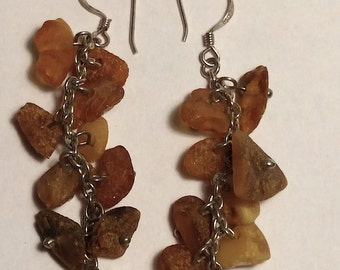 Boho 1970s Long Sterling Silver Raw Baltic Amber Beads Waterfall Statement Earrings Goth