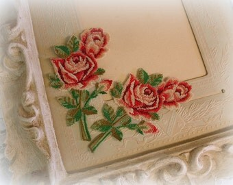 pair vintage petit point rose appliqes shades of red and green TINY stitches