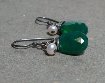 Green Onyx Earrings White Pearl June Birthstone Earrings Oxidized Sterling Silver Earrings