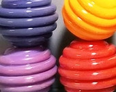 Ribbed Rainbow Spacers --Handmade Lampwork Beads