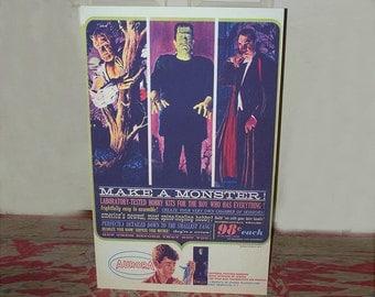 "1960's Aurora ""Make A Monster"" model kit comic ad STANDEE   24"" x 36"""