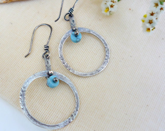 Sterling Silver Robin's Egg Blue Pendulum Hoop Earrings