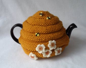 Bee Hive Teapot Cozy tea cosy, tea accessories wool cosy - beehive cosy large in wool