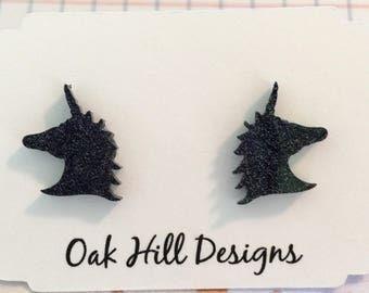 Black unicorn earrings-unicorn stud earrings-unicorn studs-fantasy earrings-glitter unicorn earrings