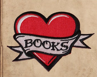 "I love books heart embroidered iron on patch - book lover 4"" wide"