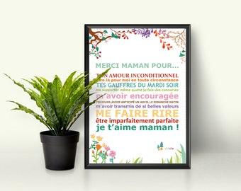 """PDF Affiche - Affiche - """"Fête des mères"""" - cadeau maman - je t'aime maman - anniversaire"""