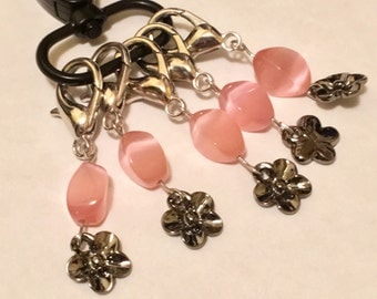 Crochet Knitting Removable Stitch Markers Swarovski Pink Cats Eye Swirl Bead and Gun Metal Flower Charms with convenient storage clip