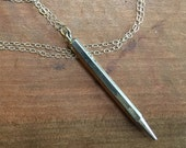 Pencil necklace vintage Sterling Silver on sterling silver chain Midcentury Modern WRITES has lead
