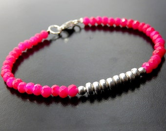 Hot Pink Bracelet, Boho Beaded Bracelet, Neon Stackable Bracelet, Stacking Bracelet, Minimalist Quartz Jewelry