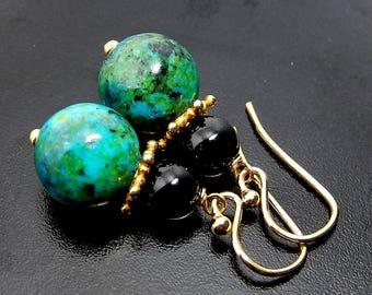 Azurite Chrysocolla Earrings, Black Onyx, Blue Green Drops, Gold Vermeil Jewelry