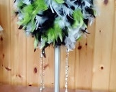 Custom Hand Mixed Feather Ball Centerpiece,black,white,mint,crystals
