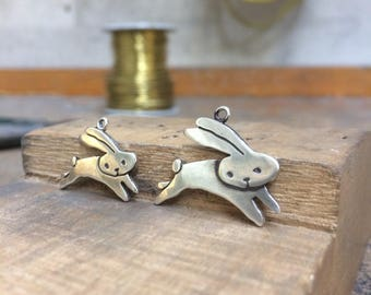 Mother Daughter Flying Bunny Necklace Set - Set of Two Sterling Silver Rabbit Necklaces