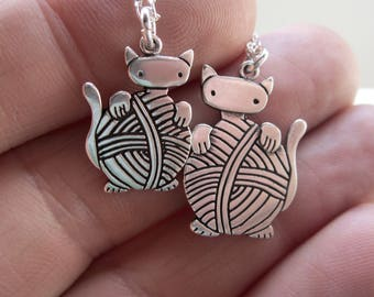 Mother Daughter Knitten Necklace Set - Set of Two Sterling Silver Cat Necklaces
