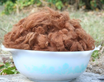 Alpaca Fiber, Washed & Picked, 3.25 ounces, Color Brown, Free Shipping