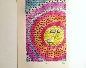 Blackout Poetry (absorb the happy) Original Artwork & Poem