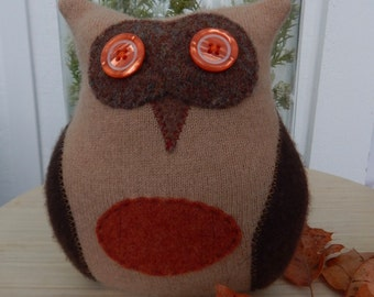 Recycled Cashmere Owl Tooth Fairy Pillow - Brown and Rust Orange