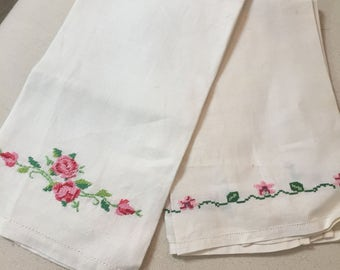 2 Hand embroidered hand towels vintage shabby chic