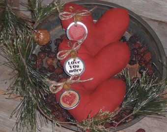 Beautiful Set of 3 Primitive Grungy Rustic Country Red Tonal LOVE Valentine February 14 Heart Bowl Fillers Ornies Ornaments Tucks