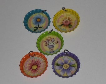 5 Bright Spring Time Floral Flowers Bottle Cap Charms Mini Tree Ornaments Party Favors Jewelry