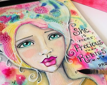 Proverbs 31 Collection / She is Worth More Than Rubies / Print Inspirational Watercolor Art /