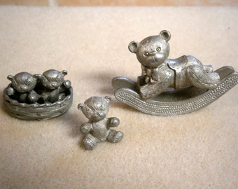 3 Pewter Spoontiques Teddy Bears, Vintage Spoontiques Pewter, WGV