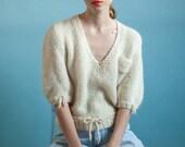 italian cream v neck mohair sweater / cream knit sweater / puff sleeve sweater / s / m / 1943t / B21