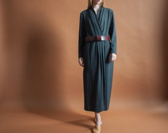 gray wool knit wrap dress / minimalist dress / belted maxi dress / 10 / m / 2099d / B3