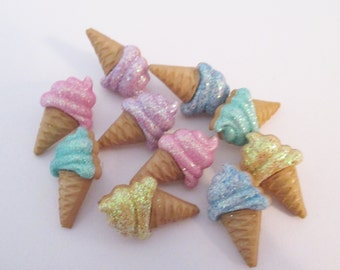 glitter ice cream cone stud earrings - sweet desert, fun kawaii, kids jewelry, sweet food, surgical steal, food gift