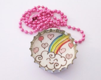 Bottle cap Necklace - Cute Rainbow Happy Cloud with Hearts - Original Drawing illustration , kawaii, children jewelry, kids, Recycled