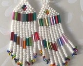 Small Beaded Fringe Seed Bead Earrings White Sparkles Beaded Dangle Earrings