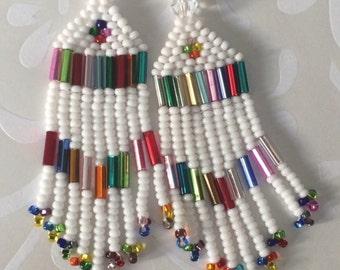 Small Beaded Fringe Seed Bead Earrings White Sparkles Beaded Dangle Earrings