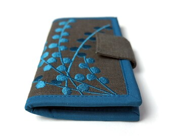 MADE TO ORDER   Womens wallet    Carry all Wallet   Handmade fabric Wallet   Pacific Blue Pods on Gray   wallets for women   Women's Gift