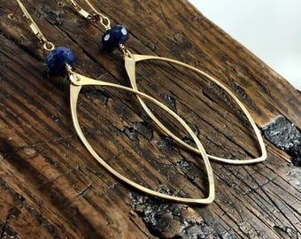 Hammered 14k Gold Fill Leaf Shaped Earrings with Navy Blue Labradorite  Gemstone Accent