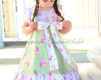 Romantic green pink floral twirl dress, spring Easter dress for baby girl toddler and tween girl, ruffled birthday flower girl shabby dress