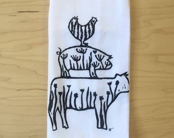 "cow, pig, chicken - 100% cotton hand printed flour sack towel - 29"" square"