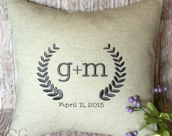 Laurel Wreath Monogram Pillow Cover 18 x 18.  Wedding Gift with Date. Couples Initials. 2nd Anniversary Keepsake. Farmhouse Decor.