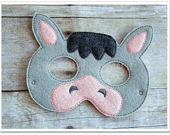Donkey Mask  Felt Mask Halloween Mask Easter Basket  Pretend Play Creative Play Masks Imaginative Play
