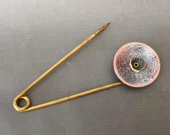 Gray and white Enameled Scarf Pin, Vintage Brass Shawl Pin, Enameled Sweater Pin, large safety pin