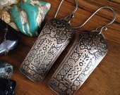 Bronze and Sterling Shaman Earrings