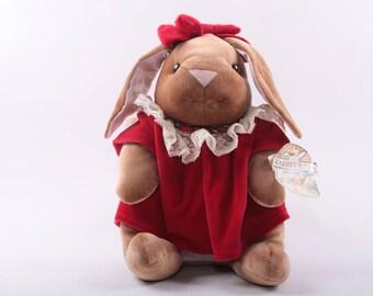 Velveteen Rabbit, Official Rabbit Ears, Dress, Plush, Bunny, Red Dress, Bow, 1989, Toys R Us ~ The Pink Room ~ 160917
